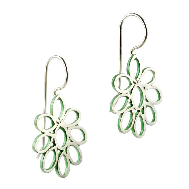 Green Flower Earrings -