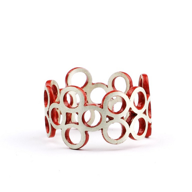 Silver Red Ring -