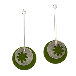 Silver Green Earrings