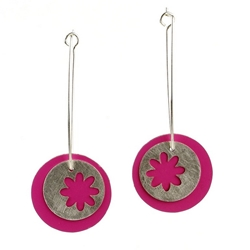 Silver Pink Earrings
