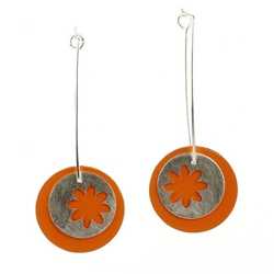Silver Orange Earrings