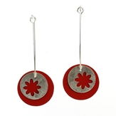 Silver Red Earrings -
